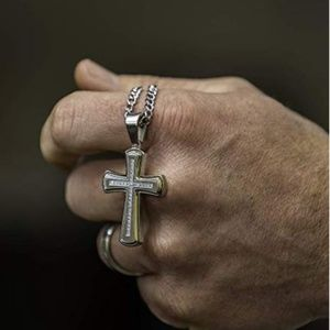 Other - Men's Two-Tone Diamond Cross Pendant Necklace NWOT